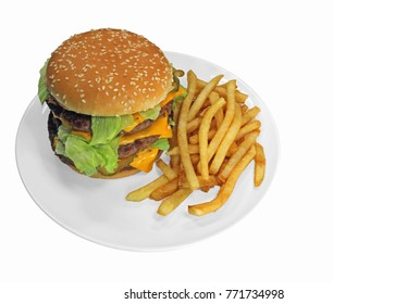 Triple cheeseburger with cheese, lettuce, onion, pickles, Sesame seed bun, french fries. Copy Space on right. Isolated on white.