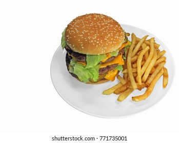 Triple cheeseburger with cheese, lettuce, onion, pickles, Sesame seed bun, french fries. Copy space on left, isolated on white