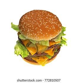 Triple cheeseburger with cheese, lettuce, onion, pickles, Sesame seed bun, High angle view
