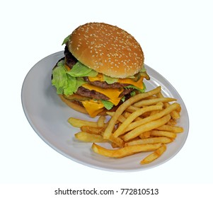 Triple cheeseburger with cheese, lettuce, onion, pickles, Sesame seed bun, french fries.