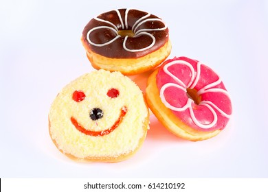 Triple donuts on white background