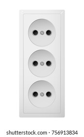 Triple electrical socket Type C. Power plug illustration. Realistic receptacle from Europe.