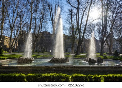 A triple fountain in Zrinjevac park in Zagreb, Croatia, made in 19. century.