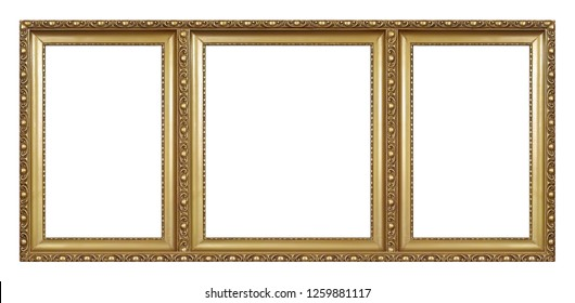Triple golden frame (triptych) for paintings, mirrors or photos
