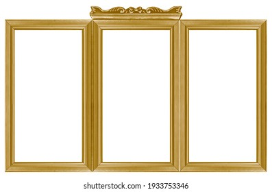 Triple golden frame (triptych) for paintings, mirrors or photos isolated on white background. Design element with clipping path