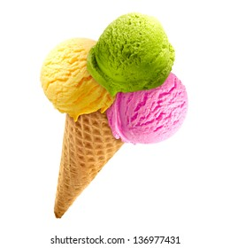 Triple ice cream in cone on white background