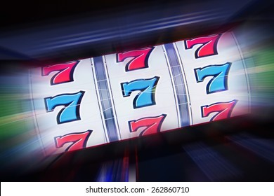 Triple Seven Slot Machine Win. Casino Classic Slot Machine Concept Photography.
