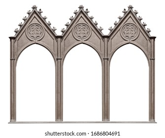 Triple silver gothic frame (triptych) for paintings, mirrors or photos isolated on white background. Design element with clipping path