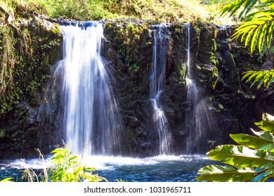 Triple waterfall on the coastal road to Hana in Maui, Hawaii