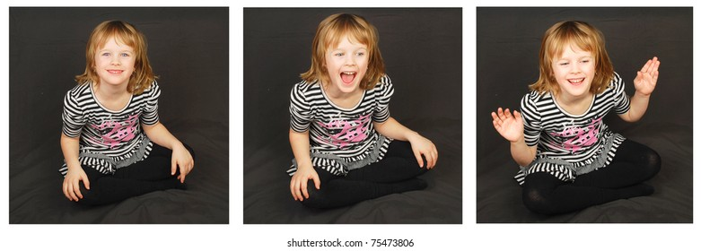 Triplex of happy little girl mood images on the black. Studio shoot.