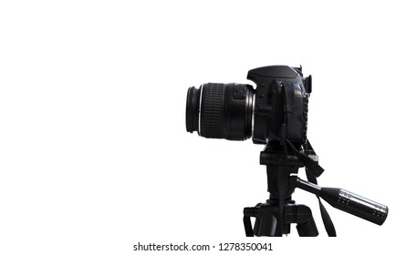 tripod on dslr camera and isolated white background