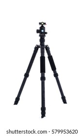 Tripod standing on snow with white background.