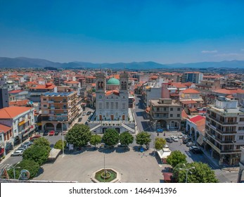 TRIPOLI, GREECE - JULY 25: The Metropolitan Church of St. Basil and the central square of Tripoli town in Arcadia, Greece, Europe