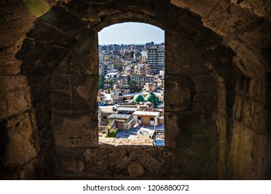 TRIPOLI, LEBANON - October 2018: Aerial view of old town of Tripoli from Citadel in Tripoli downtown, Lebanon