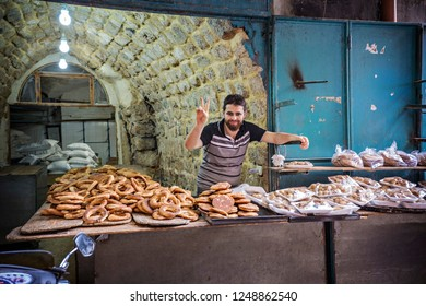 TRIPOLI, LEBANON - October 2018: Bakery stall on the market in Old Souk of Tripoli, Lebanon