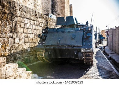 TRIPOLI, LEBANON - October 2018: Heavy tank on the street of old town Tripoli, Lebanon