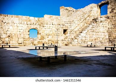 TRIPOLI, LEBANON - October 2018: Tripoli old city citadel, Walls of The Citadel of Raymond de Saint-Gilles, also known as Qala'at Sanjil, Lebanon