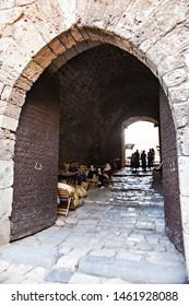 TRIPOLI, LEBANON - October 2018: Tripoli old city citadel, entrance gate in The Citadel of Raymond de Saint-Gilles, also known as Qala'at Sanjil, Lebanon