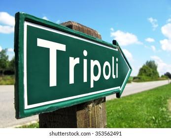 Tripoli signpost along a rural road