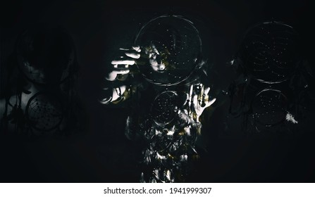 Triptych of determined man holding a dream catcher with one hand, protecting himself from blinding light, covering half of his face. Concept of shyness and dream chasing. Monochromatic, retro colors
