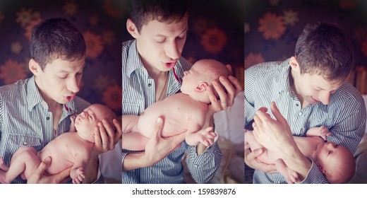 Triptych of photos father with son. Indoor