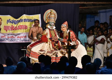 Tripunithura, INDIA - June 29: Indian traditional dance drama Kathakali preformance on June 29, 2015 in Tripunithura, Kerala India. people watching Kathakali is ancient classical dance form of Kerala.