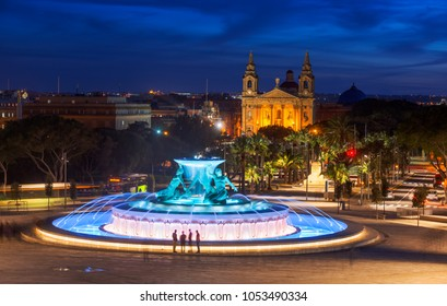 Triton Fountain in the evening. Valletta, Malta. 6 March, 2018