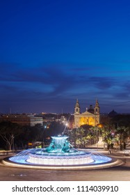 Triton Fountain in the evening. Valletta, Malta