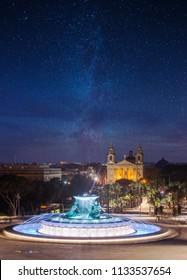 Triton Fountain in the evening. Valletta, Malta