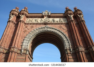 Triumph arch in Barcelona during summer with a beautiful blue sky. Spain.