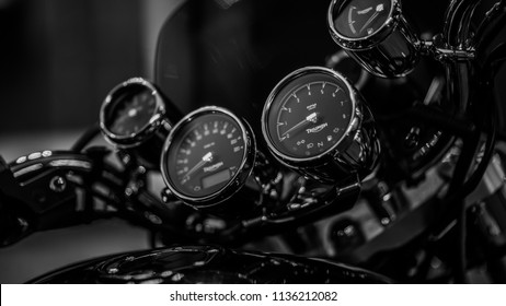 Triumph Rocket 3 instrument panel in black and white, Helsinki Finland 16th of july 2018, for editorial use only