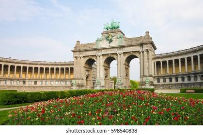 The Triumphal Arch (Arc de Triomphe) in the Parc du Cinquantenaire or Jubelpark in the European Quarter in Brussels.