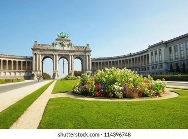 The Triumphal Arch in Cinquantenaire Parc in Brussels, Belgium in clear day