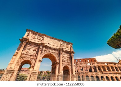 Triumphal Arch of Constantine near Colosseum in Rome, Italy, toned image
