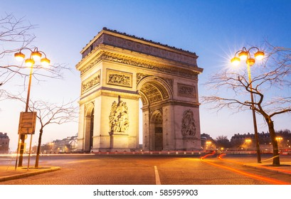 The Triumphal Arch in evening, Paris, France