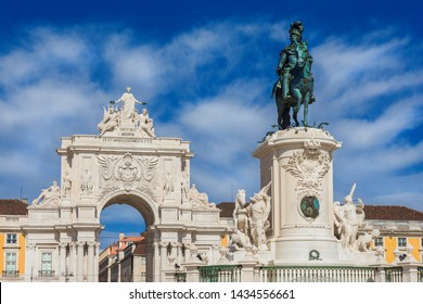 Triumphal Arch and King Jose I bronze statue in the iconic Commerce Square in the very centre of Lisbon