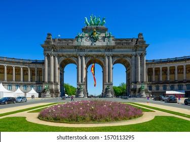 Triumphal Arch in Parc du Cinquantenaire (Park of the Fiftieth Anniversary) in European Quarter in Brussels, Belgium. Architecture and landmarks of Brussels (Bruxelles). Cityscape of Brussels.