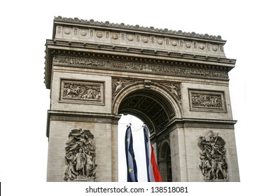 Triumphal arch in Paris, France. Isolated on white background