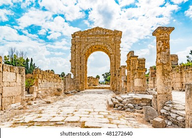 Triumphal Arch in Tyre, Lebanon. It is located about 80 km south of Beirut. Tyre has led to its designation as a UNESCO World Heritage Site in 1984.