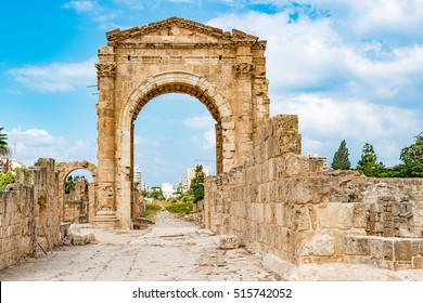 Triumphal Arch in Tyre, Lebanon. It is located about 80 km south of Beirut and has led to its designation as a UNESCO World Heritage Site in 1984.
