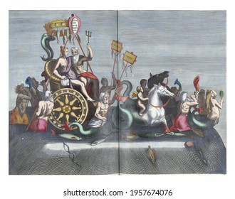 Triumphal chariot of Neptune, December 1599, vintage engraving.