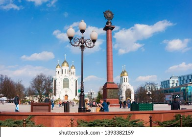 triumphal column, Cathedral of Christ the Saviour, Victory square, Kaliningrad, Russia, April 6, 2019