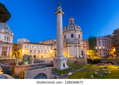 Triumphal Trajan Column in Rome at night, Italy