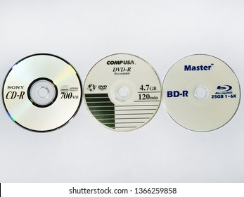 TRIVANDRUM, KERALA, INDIA, APRIL 03, 2019: Evolution of digital storage media. Blu-ray Disc, the high density digital optical disc data storage format which replaced DVD and compact disc (CD).