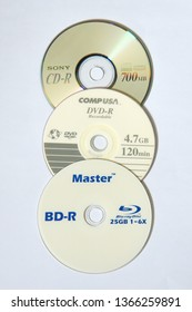 TRIVANDRUM, KERALA, INDIA, APRIL 03, 2019: Blu-ray Disc, the high density digital optical disc data storage format which replaced DVD and compact disc (CD).