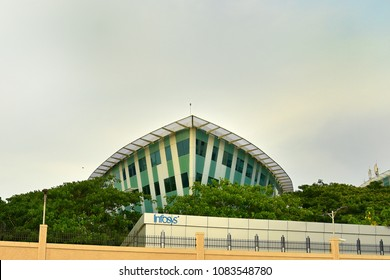 TRIVANDRUM, KERALA, INDIA, APRIL 20, 2018: Infosys Ltd Thiruvananthauram. The ship-shaped building of the global leader in consulting, technology, outsourcing and next-generation services.