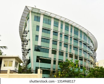TRIVANDRUM, KERALA, INDIA, APRIL 20, 2018: Infosys Ltd, Technopark, Thiruvananthauram. Ship-shaped building of the global leader in consulting, technology, outsourcing and next-generation services.