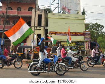 TRIVANDRUM, KERALA, INDIA, APRIL 22, 2019: General Elections in India, 2019 for the 17th Lok Sabha (Parliament). Penultimate day of campaigning of Congress party in Trivandrum. Rally of bike riders.