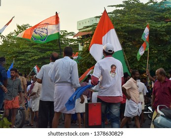 TRIVANDRUM, KERALA, INDIA, APRIL 22, 2019: General Elections in India, 2019 for the 17th Lok Sabha (Parliament). Penultimate day of campaigning of Congress party in Trivandrum.