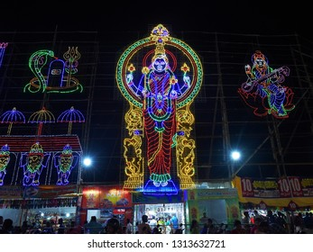 TRIVANDRUM, KERALA, INDIA, FEBRUARY 13, 2019: Decorations at Attukal Bhagavathy temple during pongala festival, at night. Gods and goddesses are created with colored light bulbs.